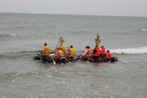 Successful raft making at Sitges beach