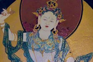 The Goddess Tashi Tsheringma (A wall mural in the Kingdom of Bhutan)