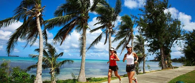 Akiko Hagiwara, left, and Ayano Braxton, enjoy a morning run in Saipan in The Marianas. The Marianas archipelago offers a breath of fresh air for travelers, offering numerous year-round outdoor activities and strong COVID-19 prevention measures for visitors and residents that have result in a an extremely low case rate in this western Pacific destination.